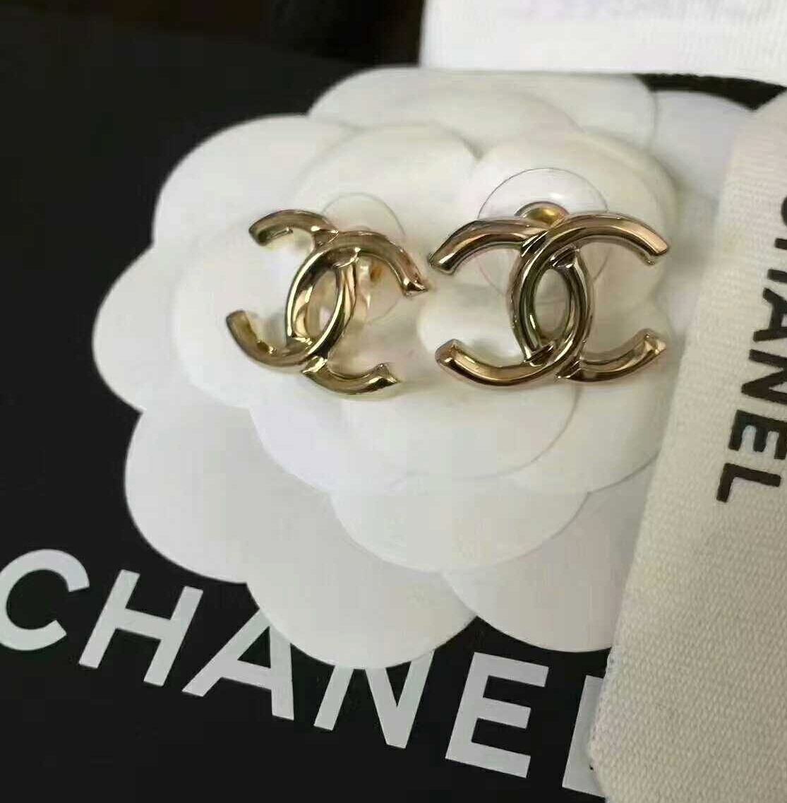 eac6952788 GORGEOUS NEW #CHANEL Classic CC Plain Gold Stud Earrings Timeless ...