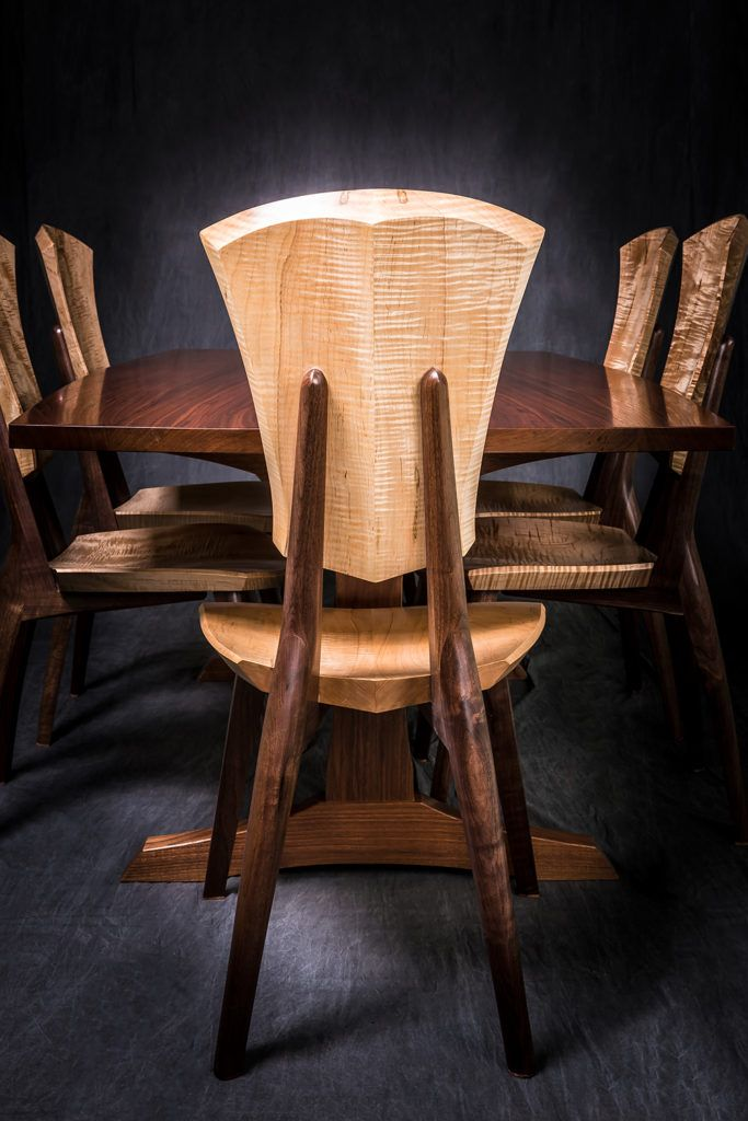 Curly Maple And Walnut Lily Dining Set