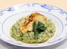 Risoto de Brócolis com Lombo de Bacalhau no Azeite de Alho