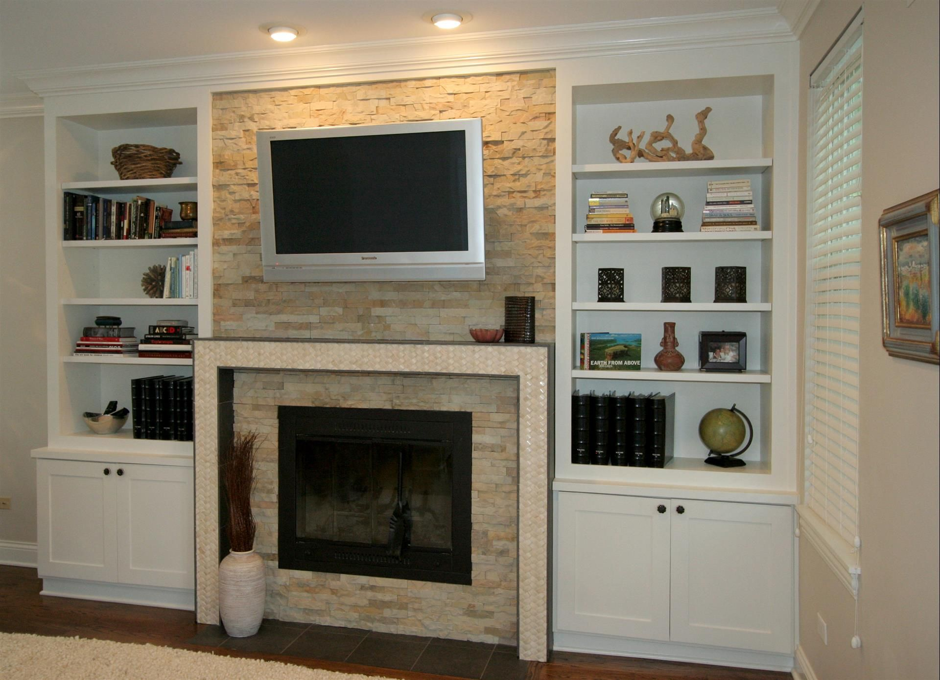 Built In Entertainment Center Design Ideas home entertainment center ideas_18 Glorious White Wooden Fireplace Entertainment Center With Bookshelves Also Ceiling Lights As Modern White Family Room Decorating Ideas