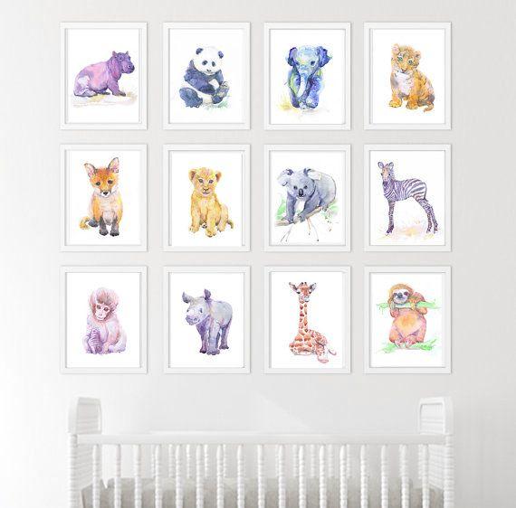 Décor de chambre d\u0027enfant bébé animaux lot de 12 gravures peinture - peinture chambre bebe fille