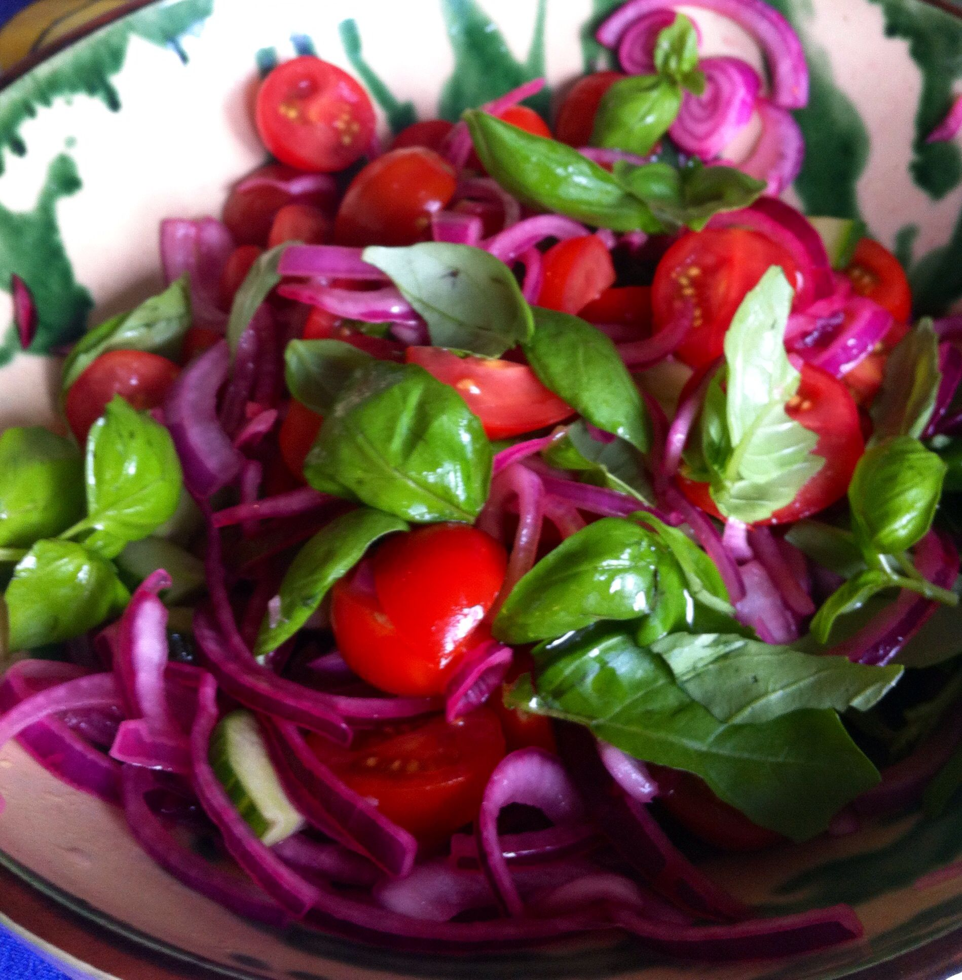 Baby plum tomato red onion and basil salad with images