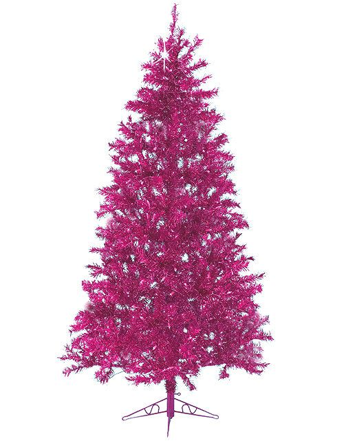 75\u0027 Sparkling Fuchsia Laser Tinsel Artificial Christmas Tree