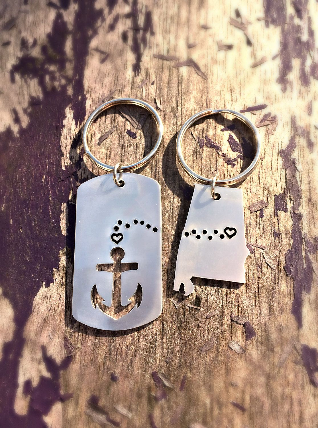 Long Distance Deployment Gift Going Away Present Alabama Hand Stamped Key Chain Anniversary Gifts Husband Boyfriend Navy Anchor