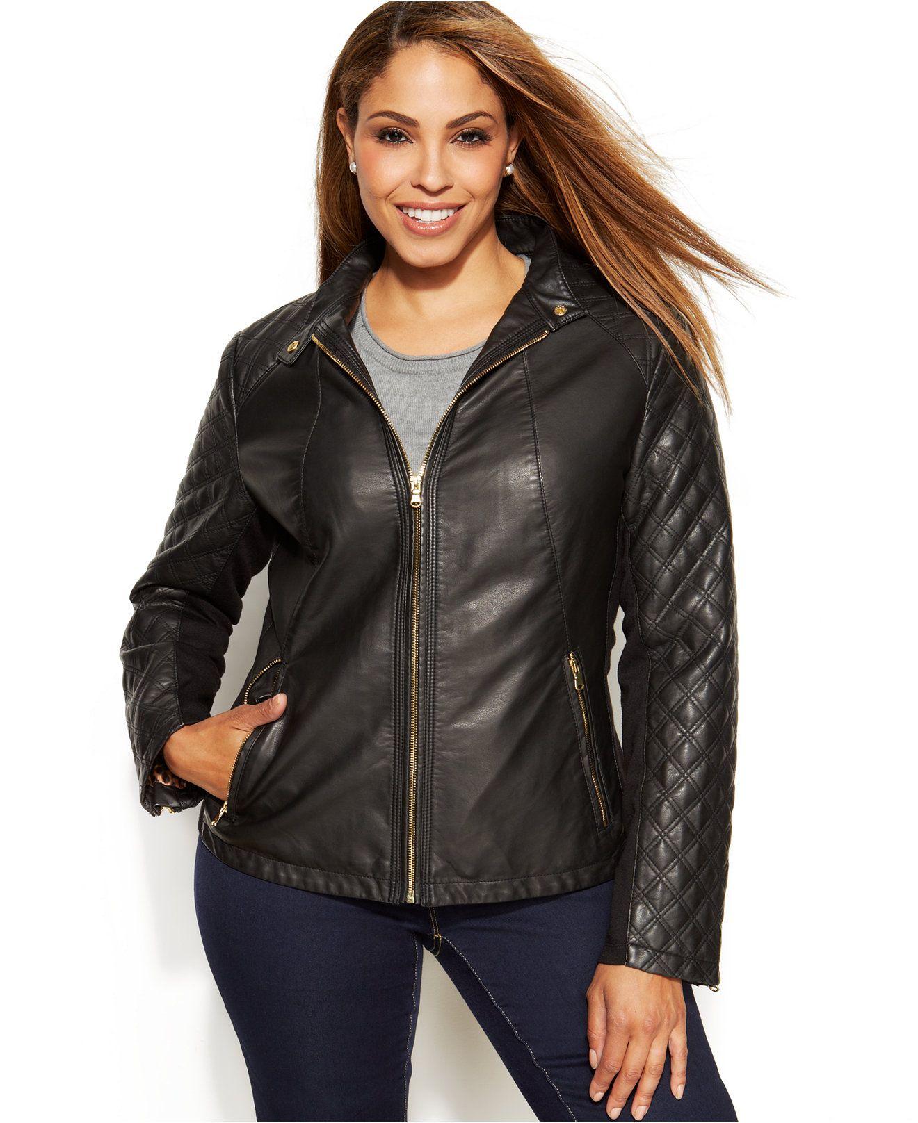 Inc International Concepts Plus Size Quilted Faux Leather Moto Jacket Coats Women Macy S Faux Leather Moto Jacket Coats For Women Jackets [ 1616 x 1320 Pixel ]