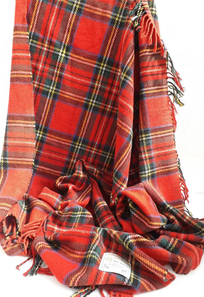 Vintage Royal Stuart Tartan Travel Rug