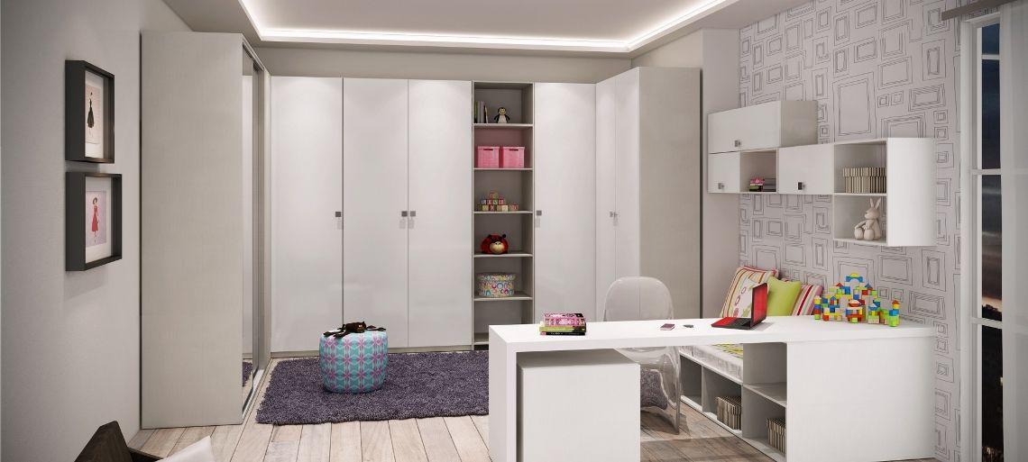 Dormitório - LÍNEO TÊXTIL, LACCA BRANCA E ESPELHO