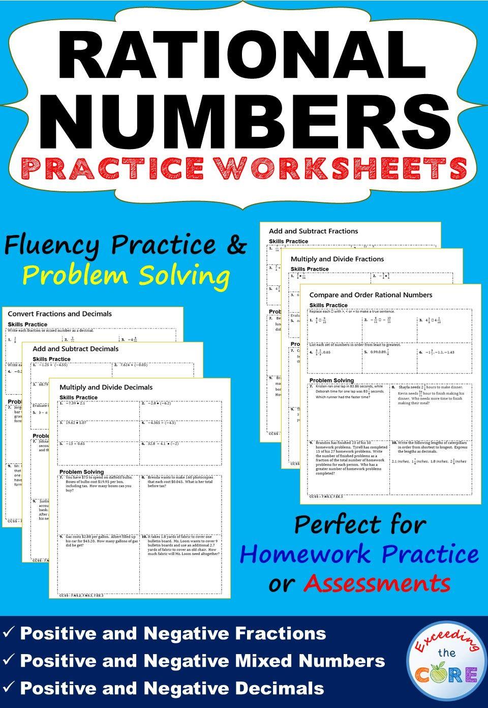ordering Rational Numbers Worksheet