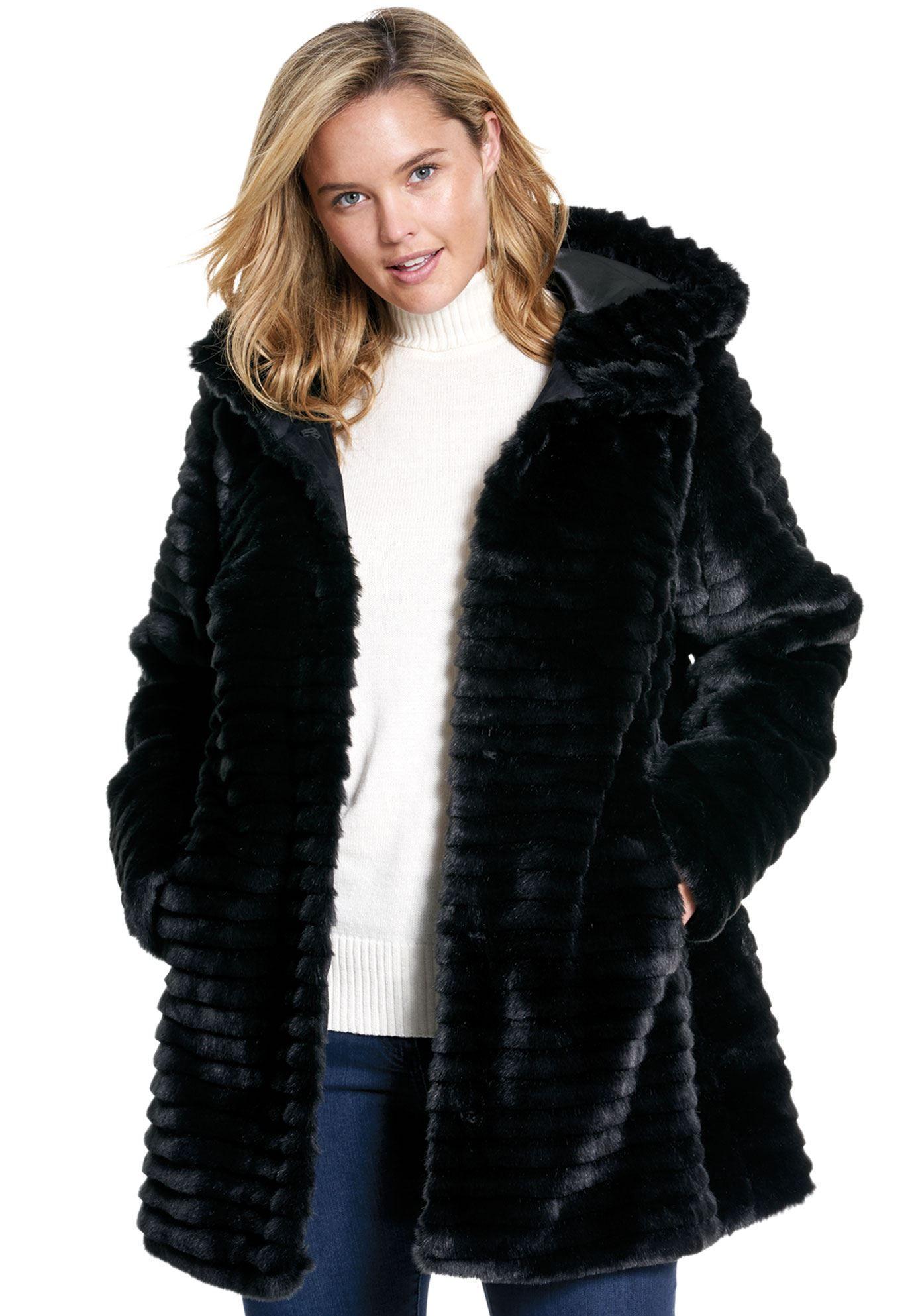 c538d49f3bd77 Faux Fur Coat - Women s Plus Size Clothing