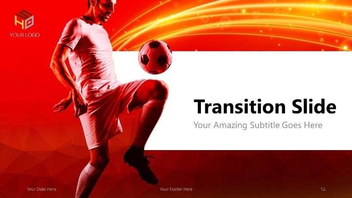 Soccer Modern Powerpoint Template Red Version Sports