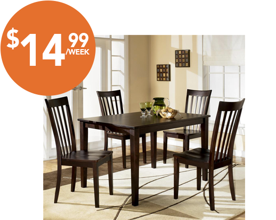 This contemporary Ashley Furniture Hyland Dining Set includes 4 chairs and 1 table. It can be yours for only $14.99 a week, max of 61 weeks (Cash price $459.99).