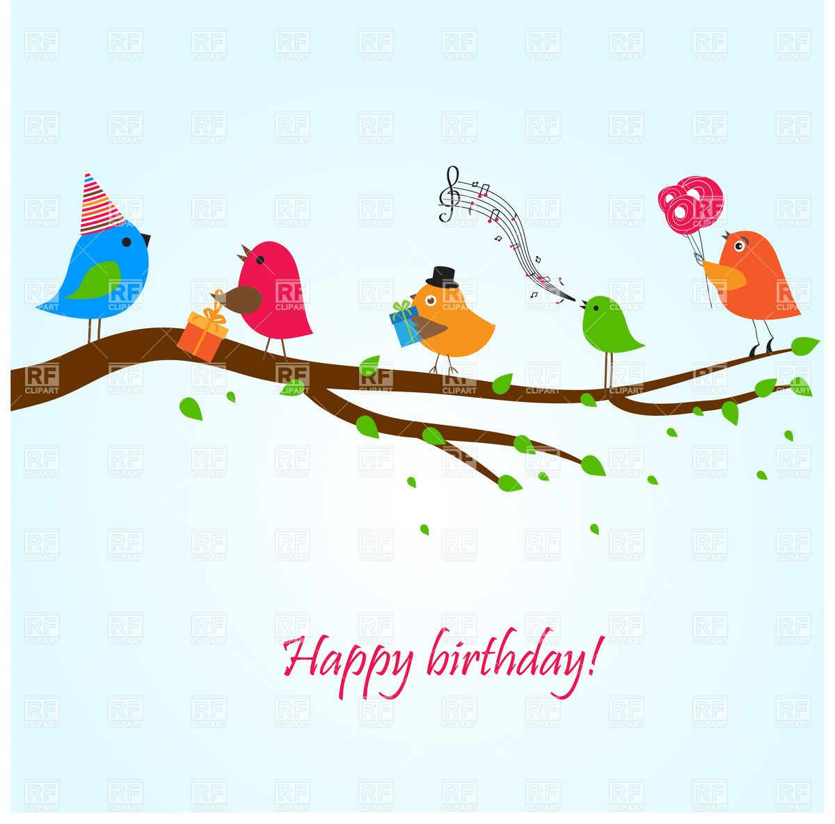 Birthday Greeting Card With Birds On The Branch Singing Songs