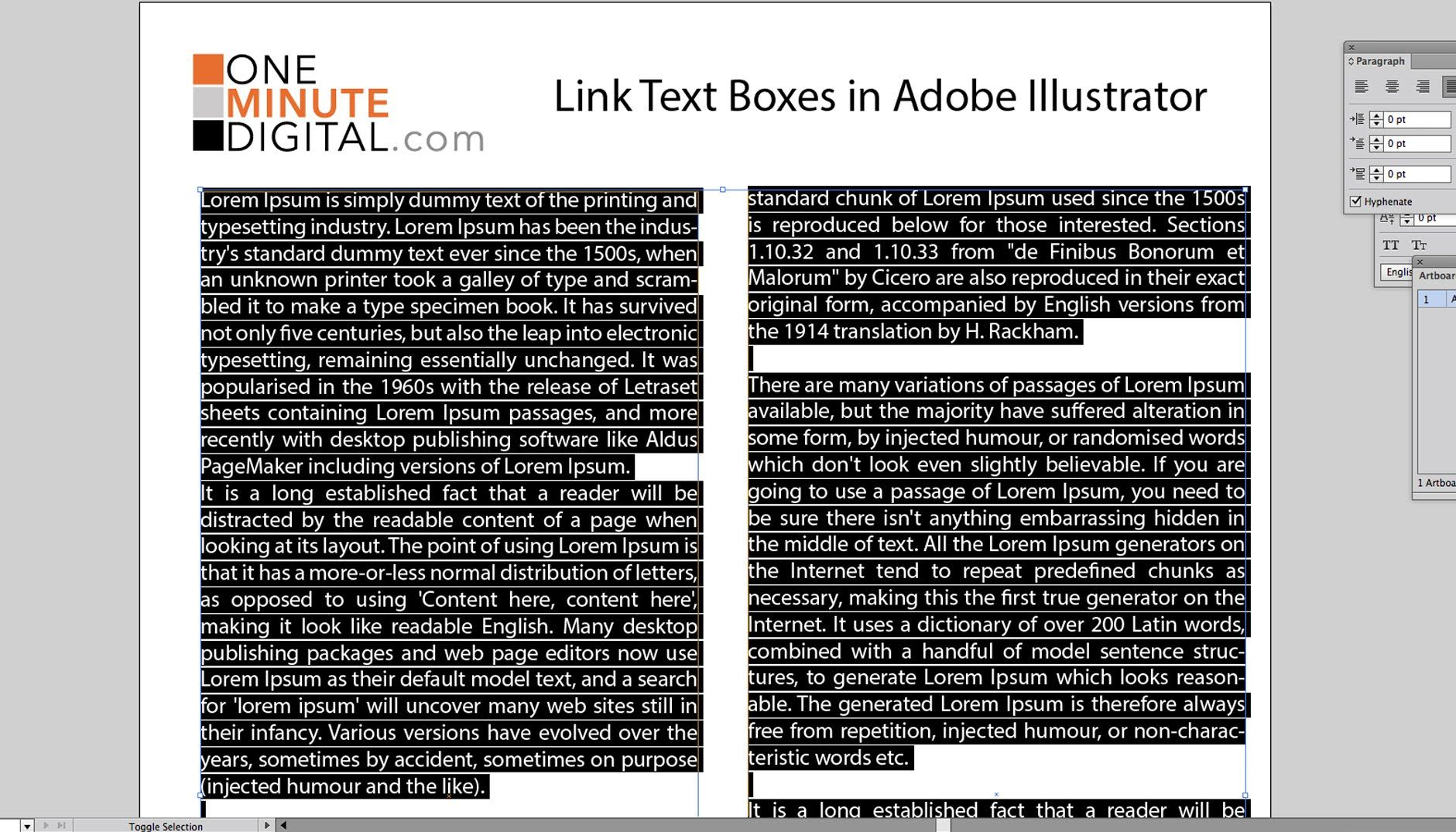 Link Text Boxes In Illustrator Cs6 In One Minute