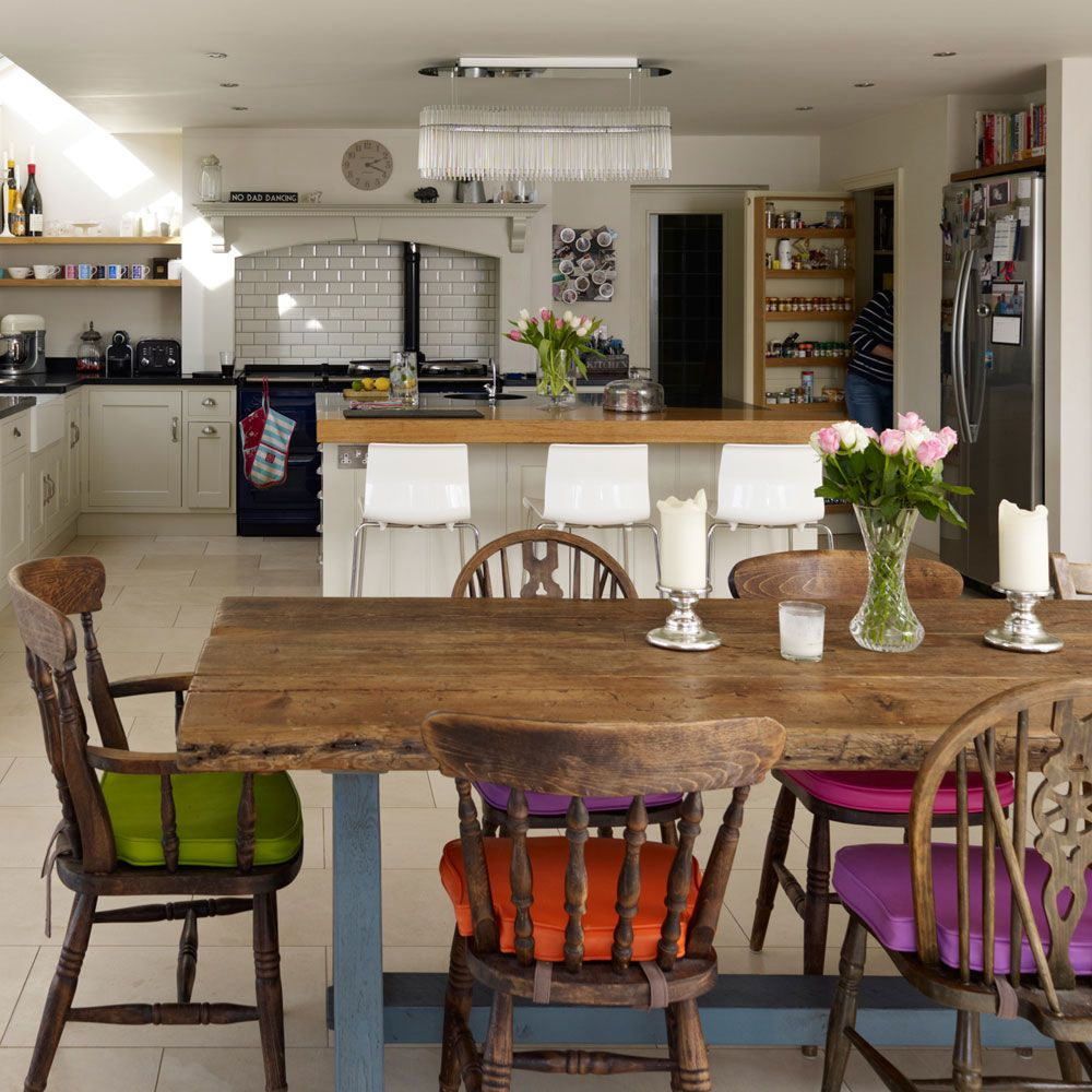 Colourful dining room ideas | Open plan kitchen diner ...