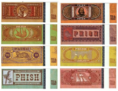 Nate Duval designed Phish tickets for 2010 tour he also designs - concert tickets design