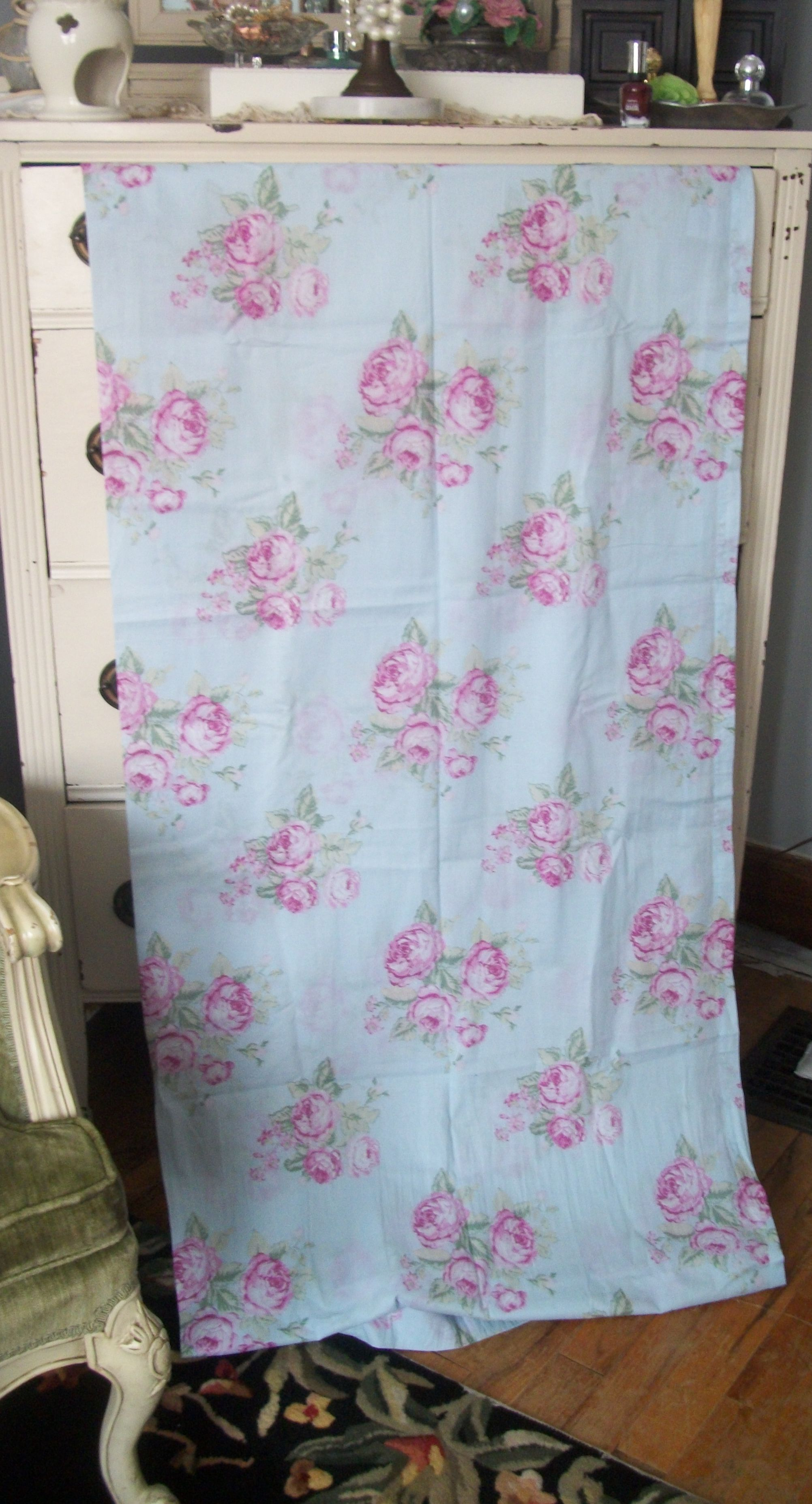 Rachel Ashwell Simply Shabby Chic Aqua Blue Rose Long Curtain Panels Fabric