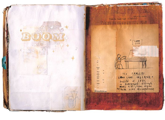 For 36 weeks in 04, myself and three other artists sent a sketchbook back and forth across the Atlantic between us, each artist responding to the spread that proceeded them. When it was finished, book had travelled over 60,000 miles. Oliver Jeffers