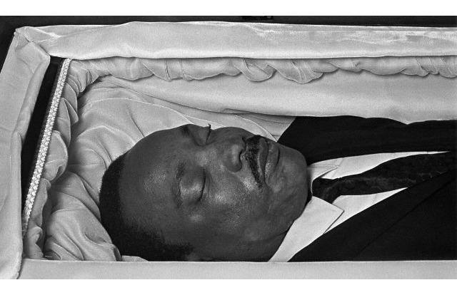 Several photos of King in his casket were published at the time of his funeral, including this closeup.