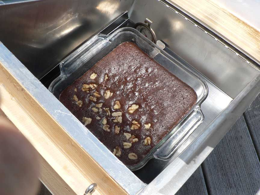 Antiquity Oaks -- solar oven brownies (only walnuts on half because no everyone here likes them)