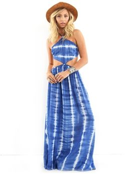 Elan Maxi Halter with Cut-Outs in Blue