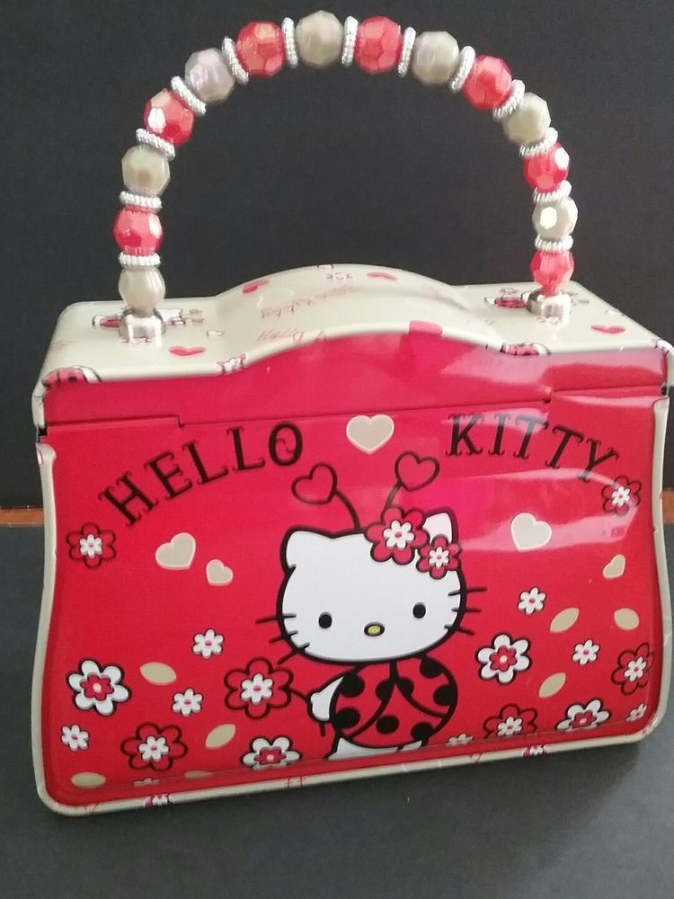 9328ecc7f Details about Hello Kitty Tin Box With Beaded Handle | Vintage Tins ...