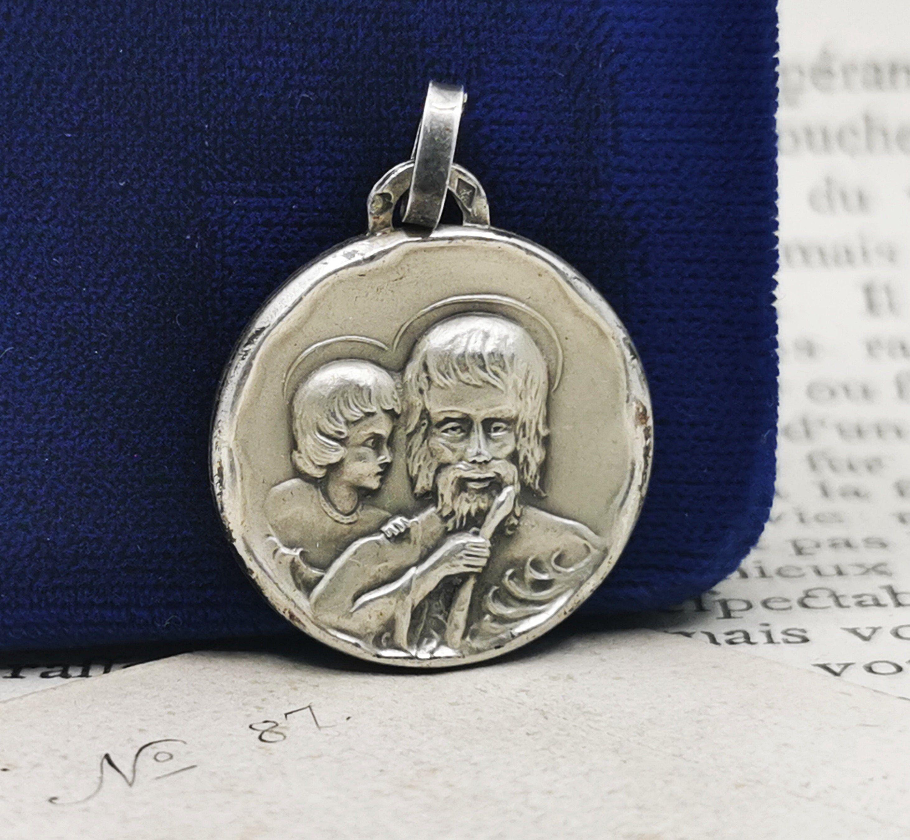 Solid 925 Sterling Silver Vintage Antiqued Catholic Patron Saint Luke Pendant Charm Medal 26mm x 20mm