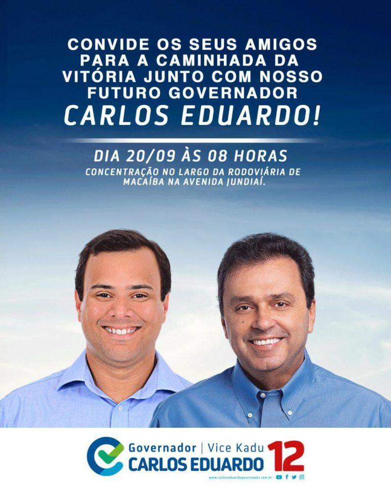 Próxima quinta-feira (20) Carlos Eduardo caminhará no centro de