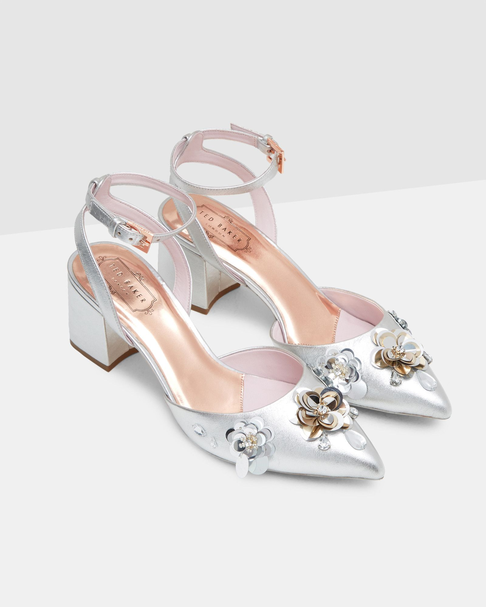 10 Gorgeous Mid Heels For Brides And Bridesmaids Wedding Shoes Silver Wedding Shoes Embellished Leather Sandals