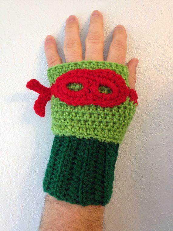 Crochet Item- Ninja Turtle Inspired Crochet Gloves (fingerless) | Hauben