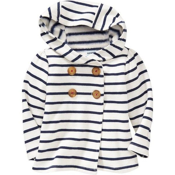 Old Navy Hooded Fleece Pea Coats For Baby Size 5T - Navy stripe (415 MXN) ❤ liked on Polyvore featuring baby