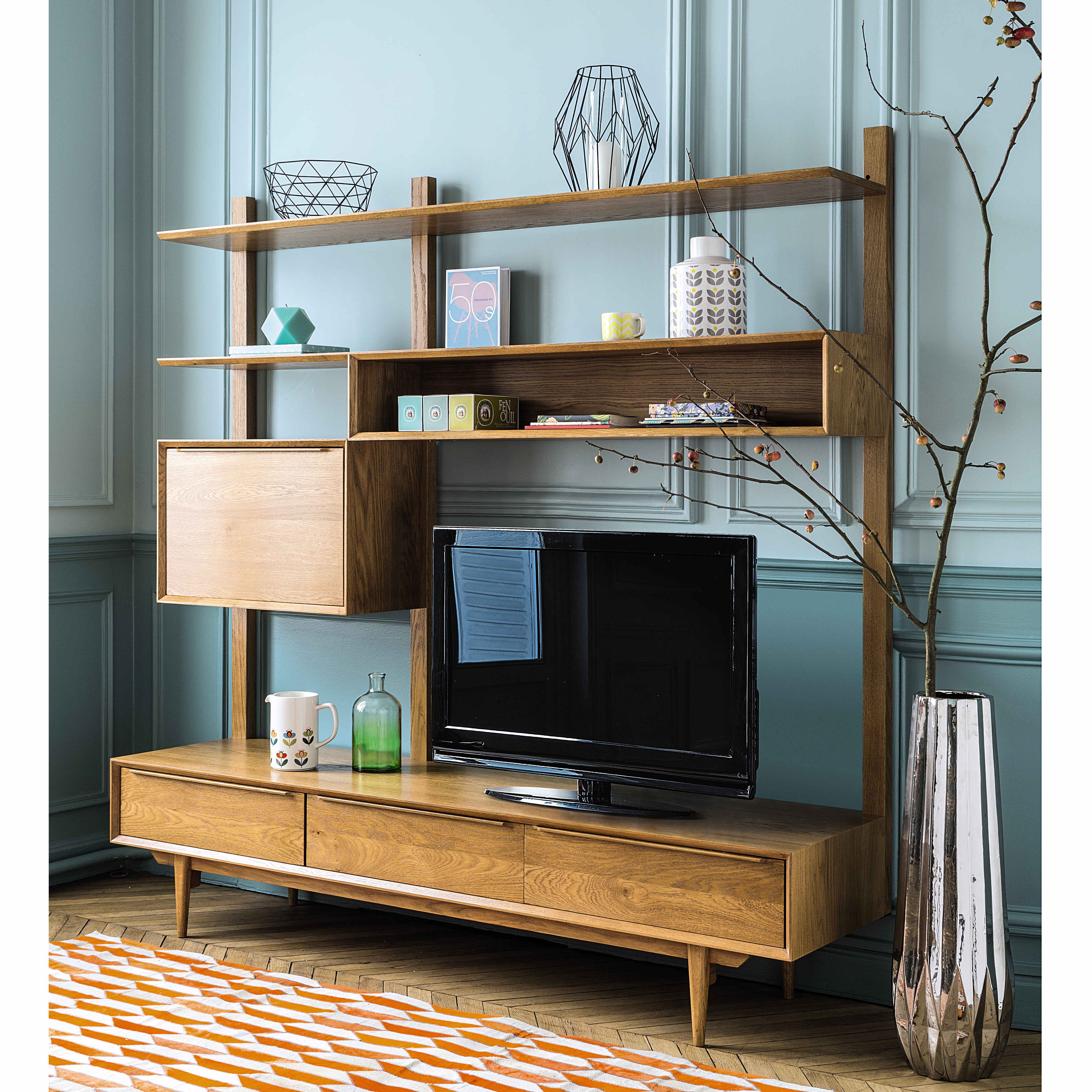 scaffale porta tv vintage in massello di quercia l 180 cm portobello maisons du monde. Black Bedroom Furniture Sets. Home Design Ideas