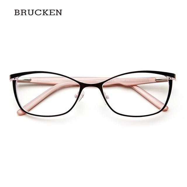 Photo of Brucken Brand Metal Glasses Frame Women Cat Eye Prescription Eyeglasses Pink Full Myopia Optical Twm7559