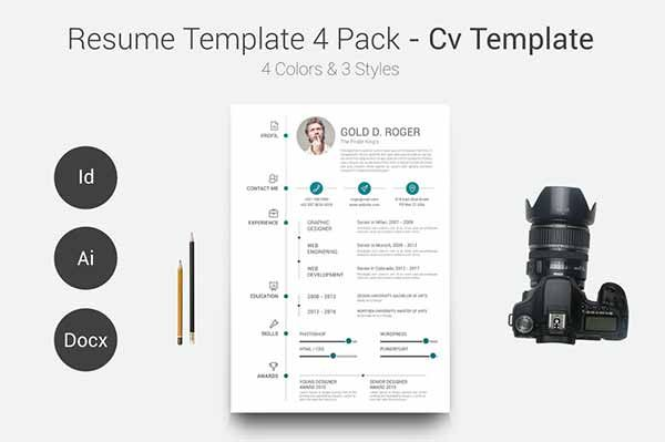 Resume Template 4 Pack - CV Template Bew+LeLau Pinterest