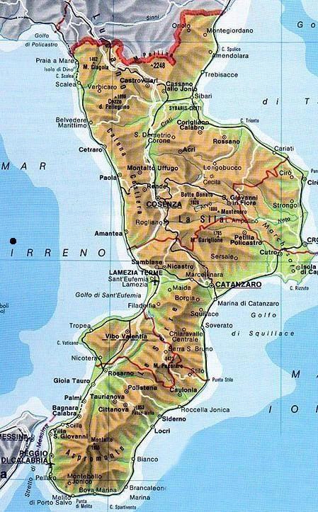 Cartina Calabria Catanzaro.Calabria Map Calabria Italia Mappa Dell Italia Viaggi