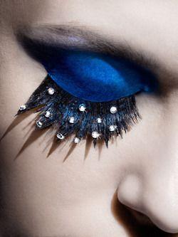 Blue eye shadow.