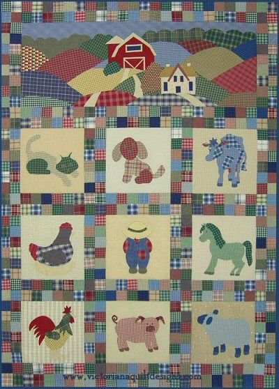 Old MacPlaids Farmyard quilt pattern. All done in plaids, this is a charming quilt to appliqué. This Quilt Pattern comes with a Barn, Cat, Dog, Cow, Chicken, Farmer/Overall Bill, Horse, Rooster, Pig and Sheep. http://www.victorianaquiltdesigns.com/VictorianaQuilters/PatternPage/OldMacPlaidsFarmyard/OldMacPlaidsFarmyard.htm