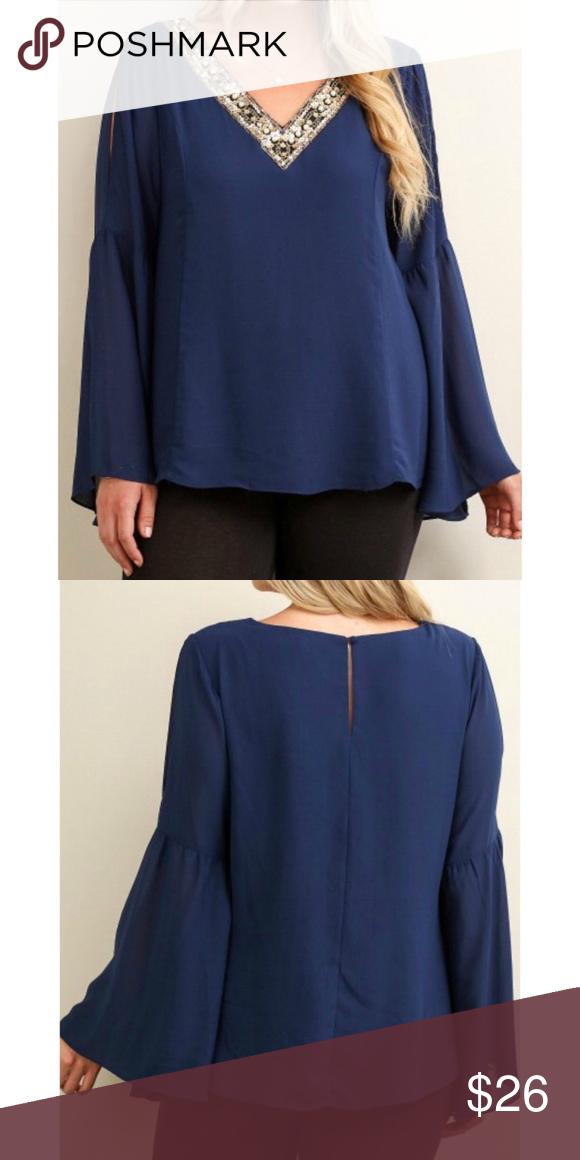 6560634ab9934e Jeweled V-neck Blouse Gorgeous cobalt blue blouse with a sequin embellished  v-neck