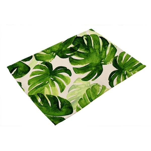 Cotton Linen Green Leaf Printed Table Dishware Place Mats For Dinner Kitchen Accessories Green Leaf Print Placemats Table Mats
