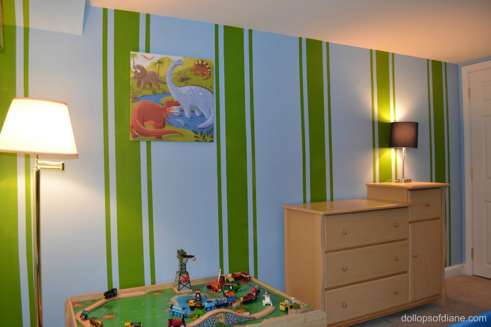 Dollops of Diane: Stripes and Dinosaurs for a boy's room!