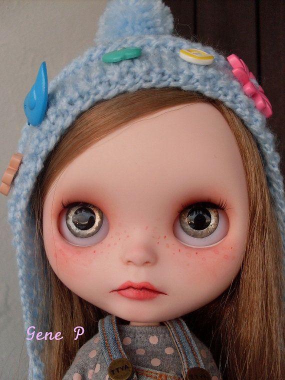 "Reserved to Liz Custom Blythe by Gene P ""Yvonne"" custom 51 handpainted eyechips"