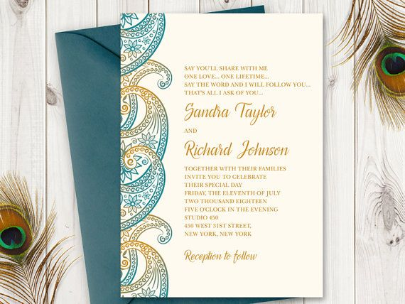 Teal Gold Paisley Wedding Invitation Printable Template Peacock