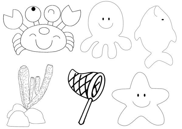 Gabarit animaux marin maternelle recherche google - Coloriage de poisson de mer ...