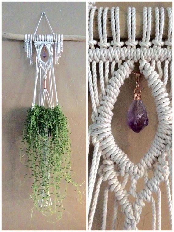 amethyst crystal small macrame wall hanging