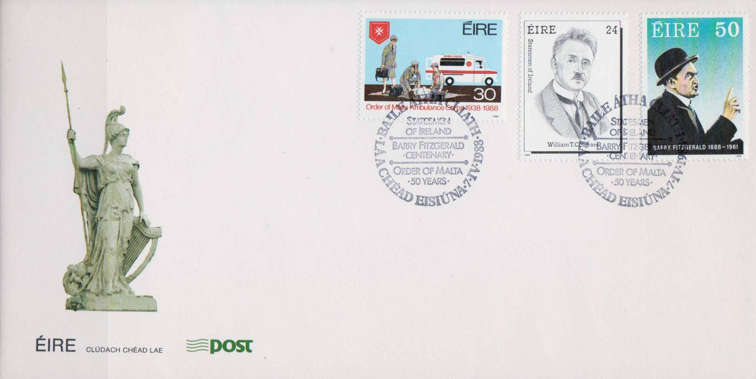 I don't recall seeing a First Day Cover with 3 unrelated stamp subjects on one cover, but here is one from Ireland: - Order of Malta Ambulance Corps 1938-1988 - Barry Fitzgerald, Oscar Winning Actor - William T. Cosgrave, Statesmen of Ireland.