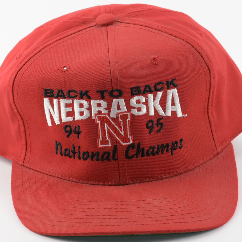 3808202ed Vintage Nebraska Cornhuskers 1994 1995 Football Champs Snapback Hat 90 s  Huskers