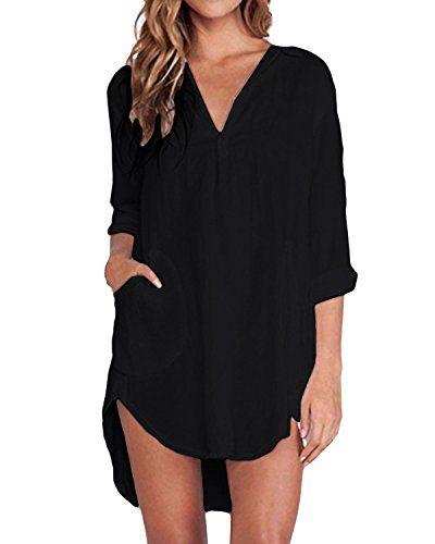 eabaed70463 ZANZEA Femme Chemise Manches Longue Tunique Lâce Mini Robe Mousseline  T-Shirt Tops Haut Blouse