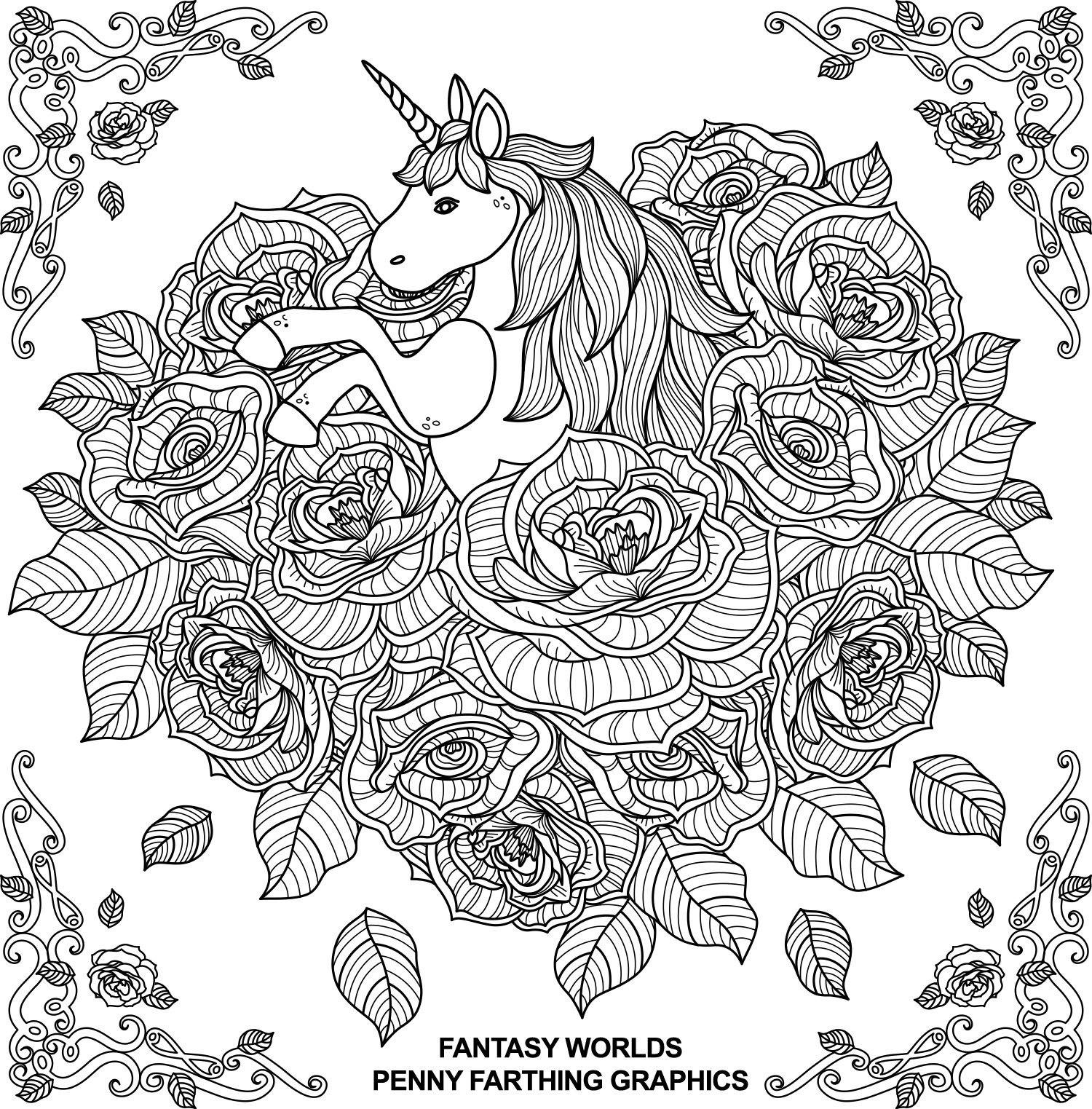 the unicorn from fantasy worlds unicorns to color. Black Bedroom Furniture Sets. Home Design Ideas
