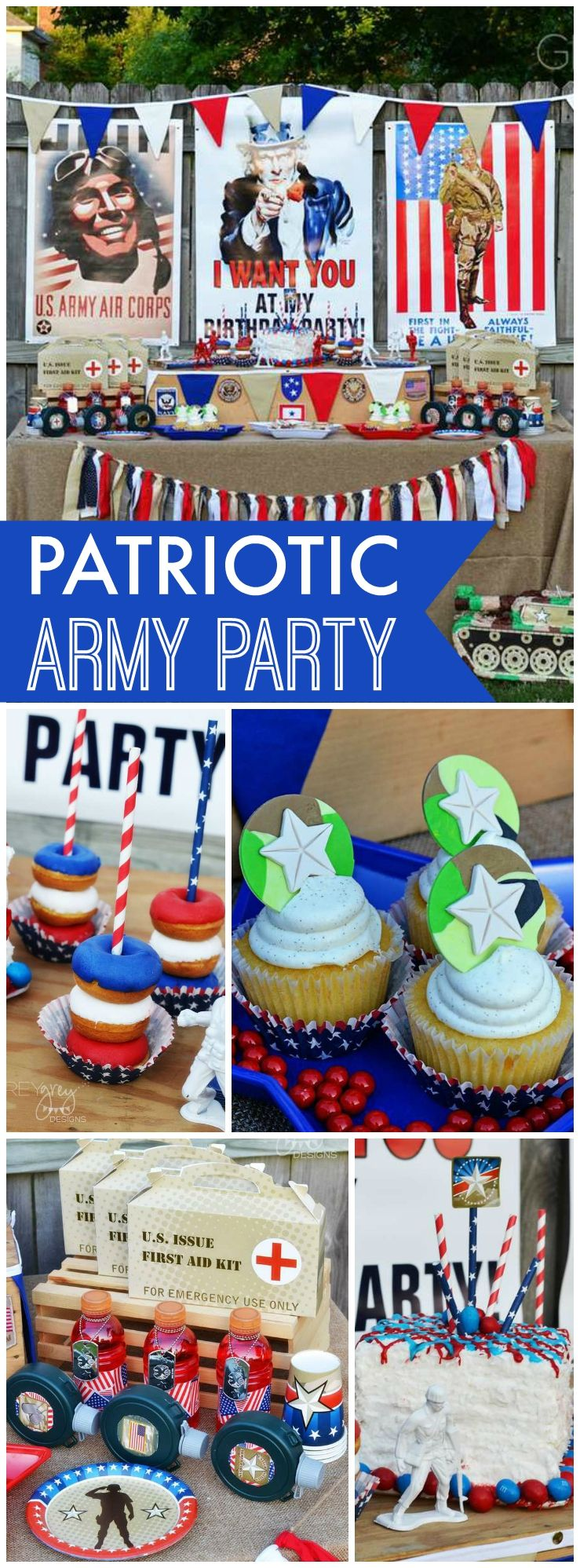 You need to see this patriotic army themed party! See more party ideas at CatchMyParty.com!