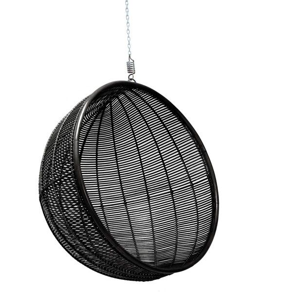 Hanging Rattan Bowl Chair in Black ($775) ❤ liked on Polyvore featuring home, outdoors, patio furniture and hammocks & swings
