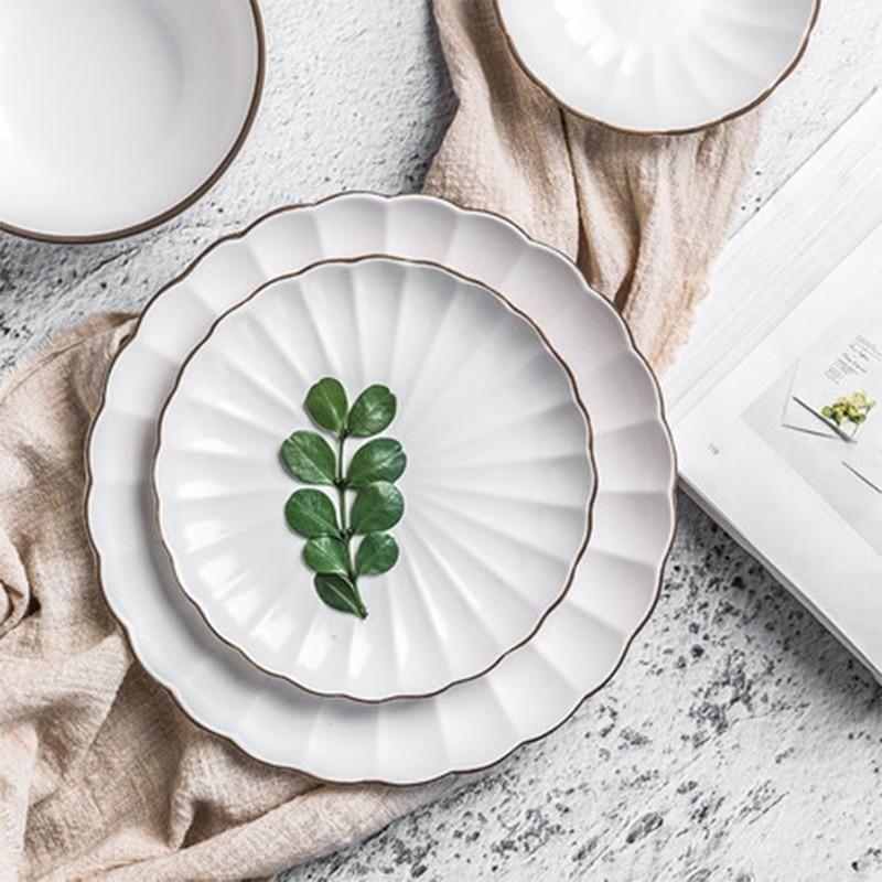 European Black Handmade Stroke White Flower Type Ceramic Tableware Porcelain Dinnerware Set Bone China Plate M Porcelain Dinnerware Ceramic Tableware Tableware